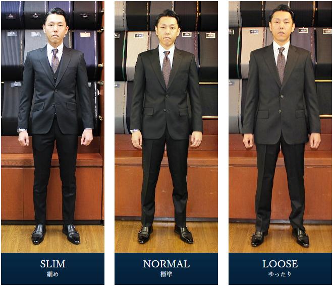 スーツのスタイル 細身・標準・ゆったり