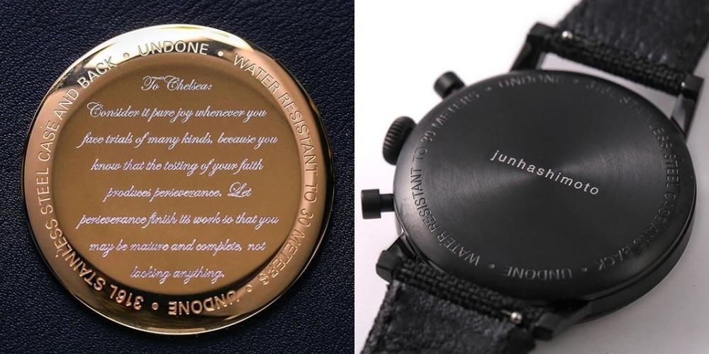 オーダーメイド腕時計メッセージ刻印