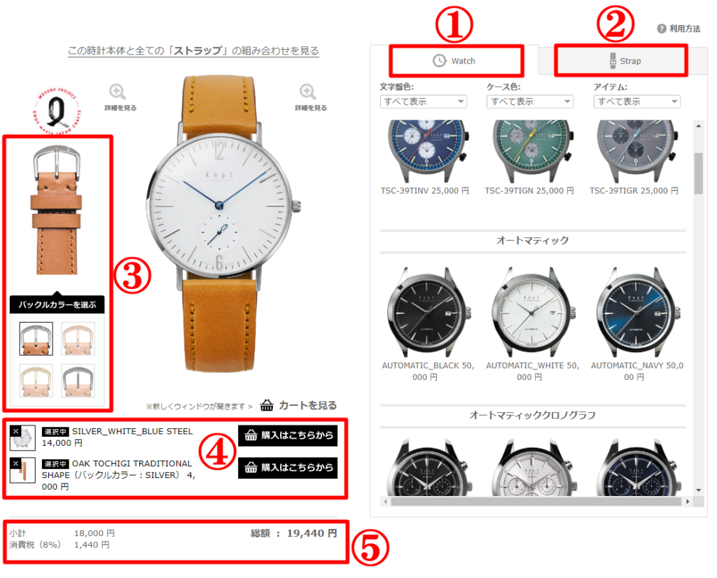 Knot 楽天サイト カスタマイズ画面