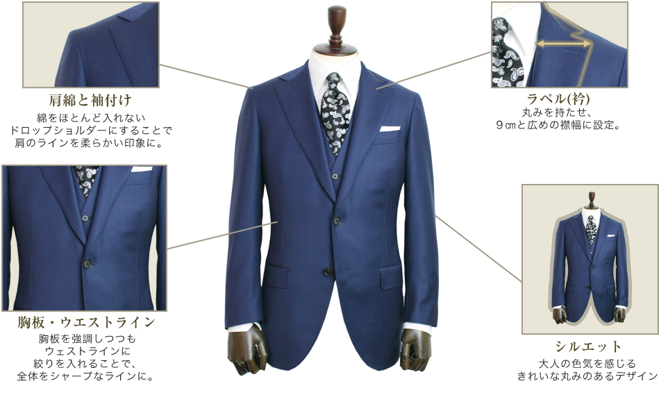 スプレーモのスーツスタイル「エレガンスライン」