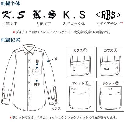 鎌倉シャツのオプション 刺繍位置と字体