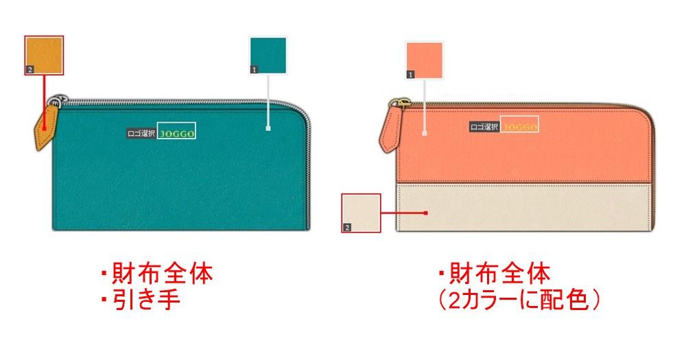 JOGGO 配色パターンの違い(L字ファスナー財布)