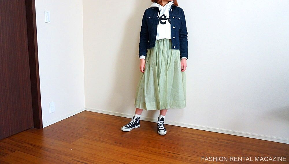 オーガンジースカート着回し