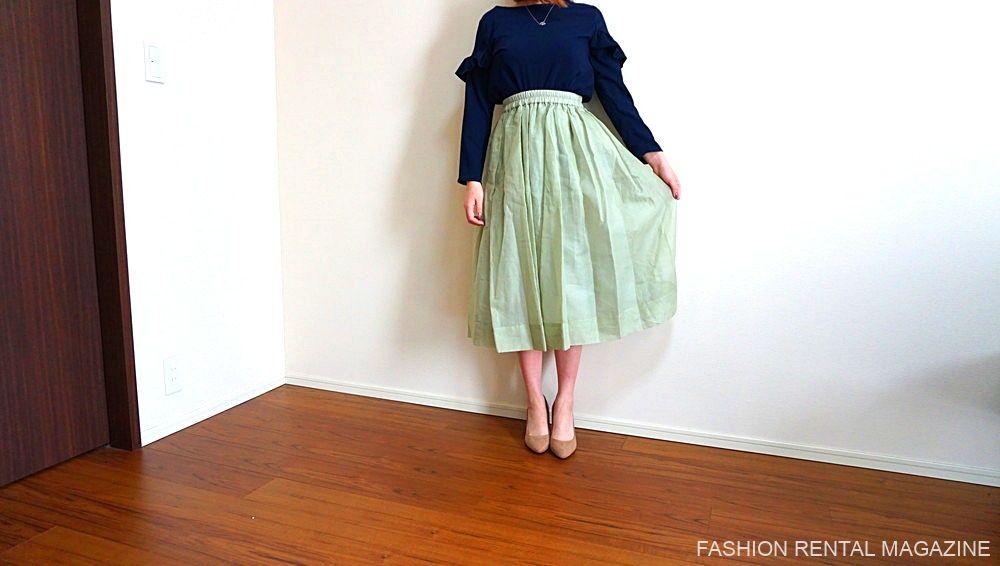 ブラウス×オーガンジースカート