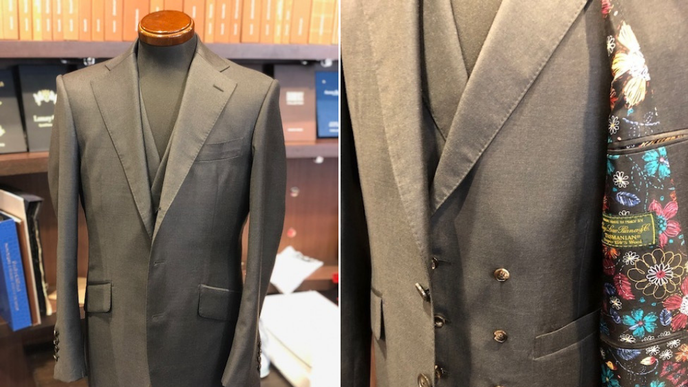 Corvo(コルヴォ)のスーツ制作例 Y様タスマニアン3Pスーツをオーダーでお仕立て