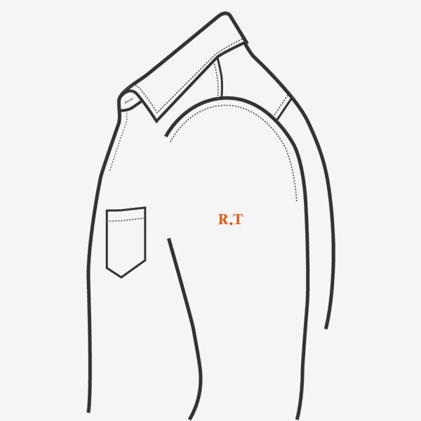 KEIオーダーシャツ 刺繍の位置 左袖