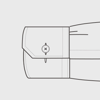 KEIオーダーシャツ 袖の種類 コンバーチブル(角型)
