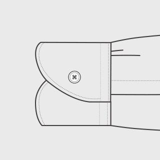 KEIオーダーシャツ 袖の種類 シングル(大丸型)