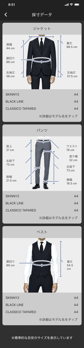 SUIT SELECT AI画像採寸 撮影後の採寸データ