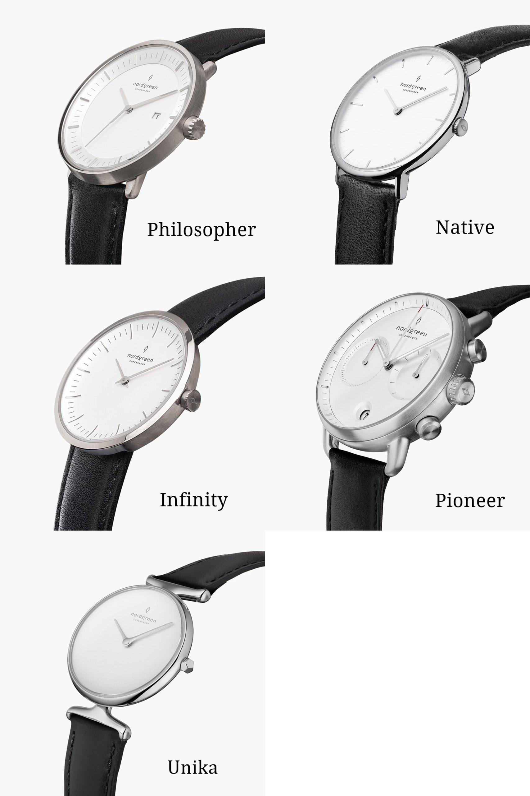 Nordgreen(ノードグリーン) Philosopher・Native・Infinity・Pioneer・Unikaのデザインを比較