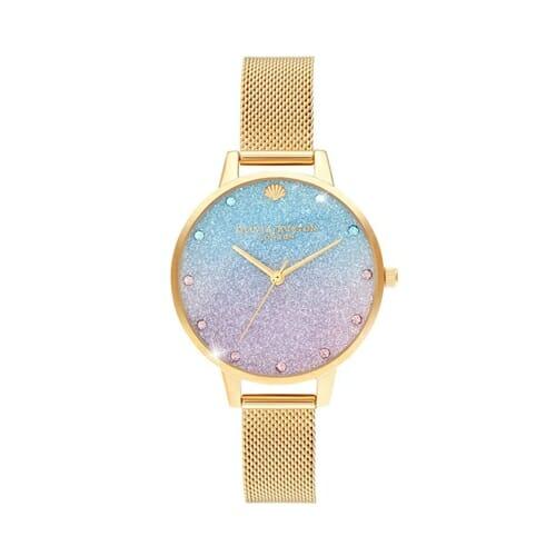 アンダーザシー グリッターダイアル スパークル マーカー & ゴールド メッシュ オリビアバートン 腕時計