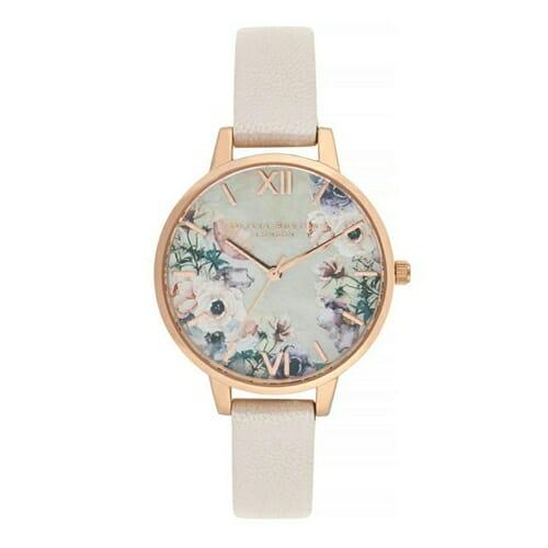 ウォーターカラーフローラル ヌード マザーオブパール パール ピンク & ローズゴールド オリビアバートン 腕時計
