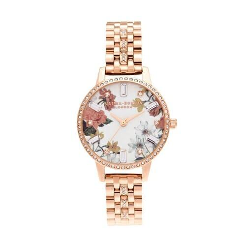 スパークルフローラルズ ミディ ローズゴールド スパークルブレスレット オリビアバートン 腕時計