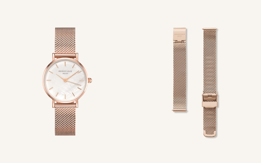 ROSEFIELD ローズフィールド The Small Edit White Rose gold-tile
