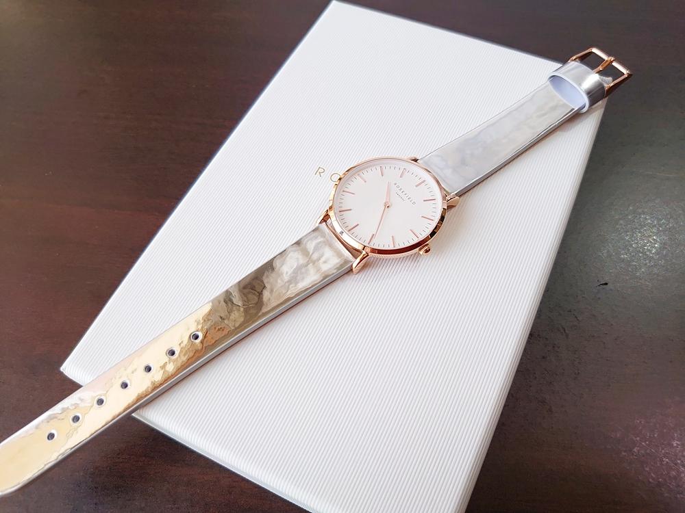 ROSEFIELD ローズフィールド 腕時計 Tribeca 33mm ローズゴールドケース フロント メタリックストラップ 装着デザイン