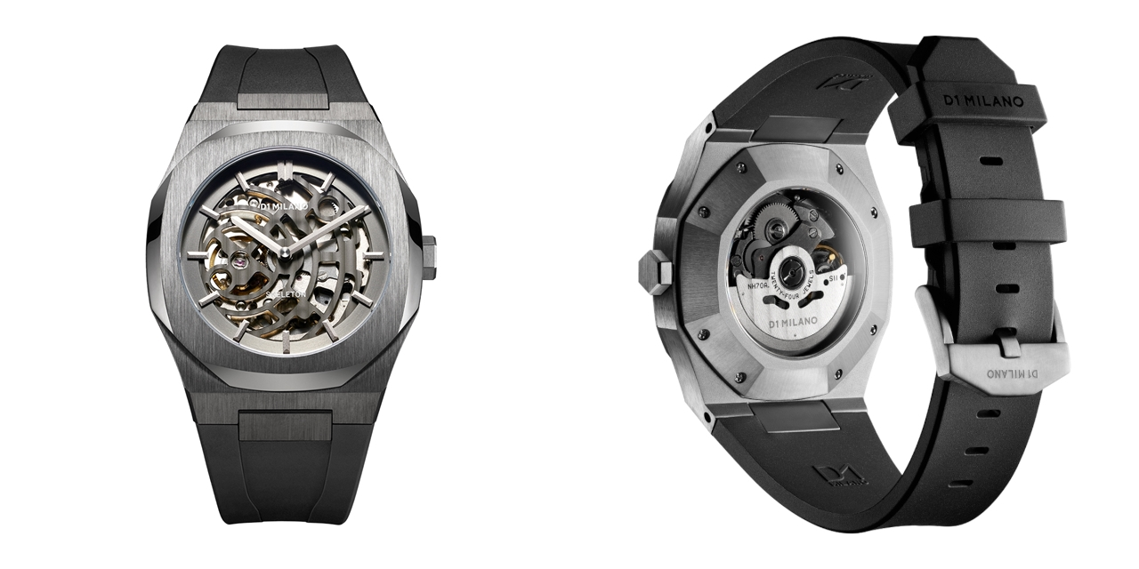 D1 MILANO ディーワンミラノ P701 Automatic Skeleton Watch IP Gun Case with Black Strap