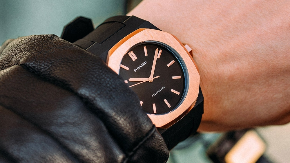 D1 MILANO P701 Automatic Watch Rose Gold Case with Black Strap