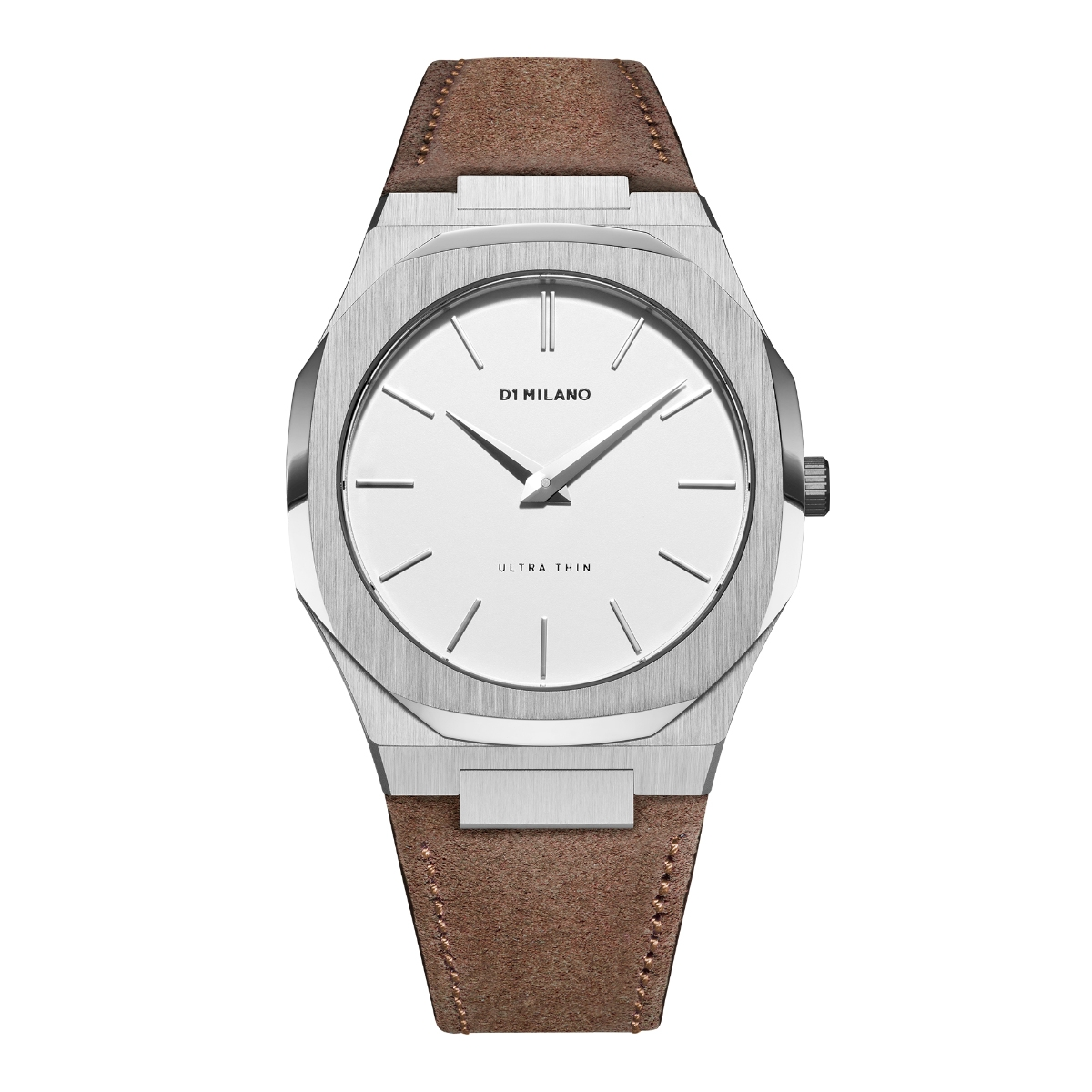D1 MILANO ディーワンミラノ Ultra Thin Eggshel Dial with Suede Leather Brown Strap