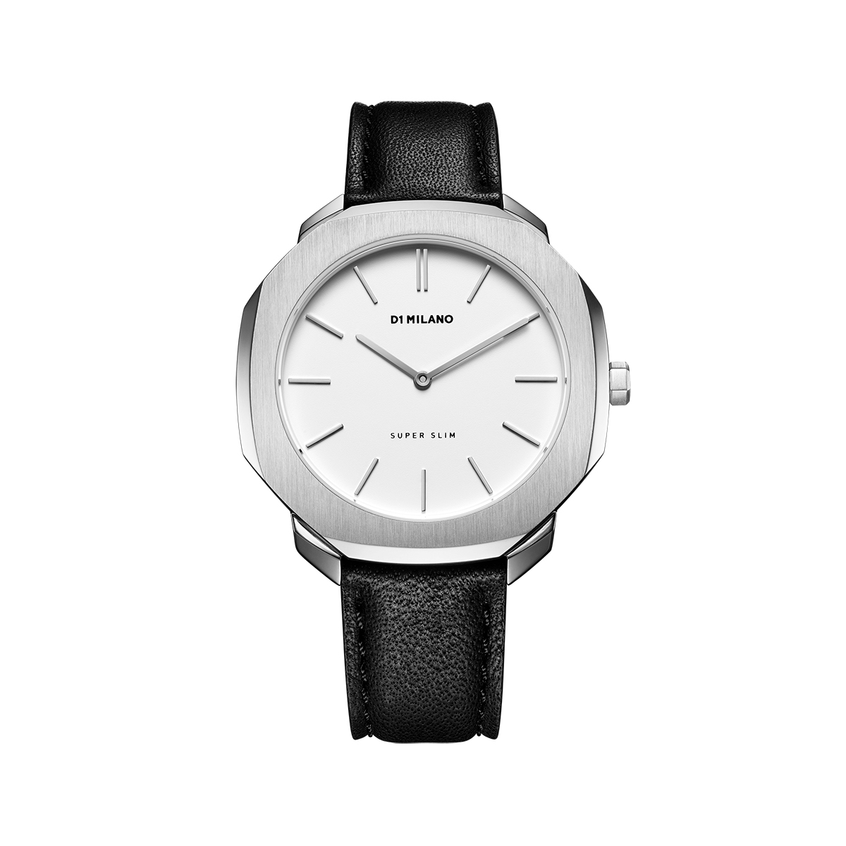 D1 MILANO ディーワンミラノ Super Slim Silver Case with Black Leather Strap