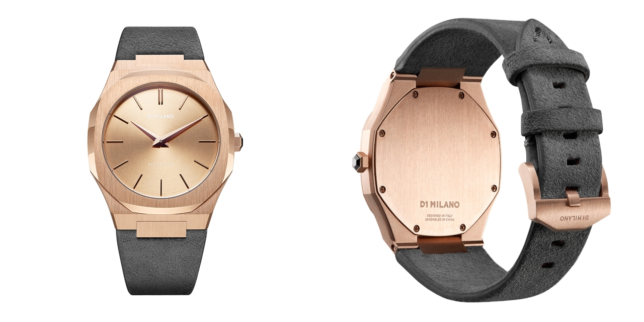 D1 MILANO ディーワンミラノ Ultra Thin Rose Gold Case with Milano grey Suede Strap