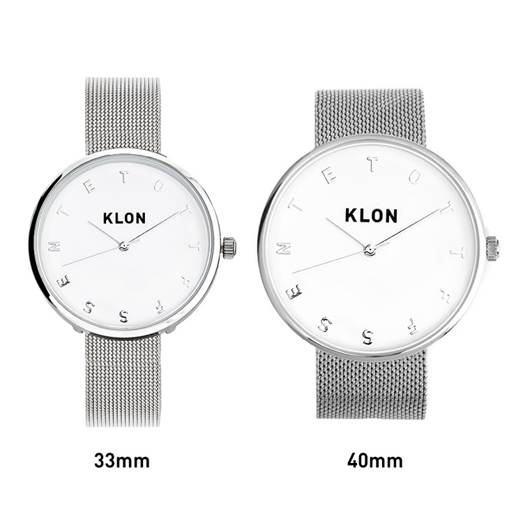 KLON ステンレスメッシュベルト 腕時計 40mm 33mm