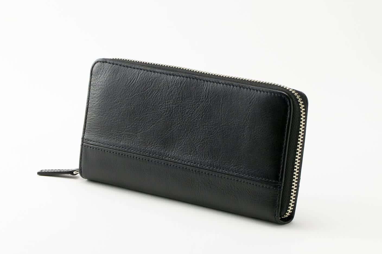 長財布(蛇腹ラウンドファスナー) ブラック Business Leather Factory(ビジネスレザーファクトリー)