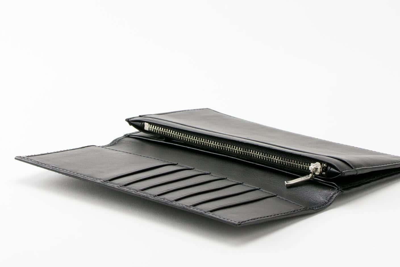 長財布(小銭入れあり) ブラック オープン Business Leather Factory(ビジネスレザーファクトリー)