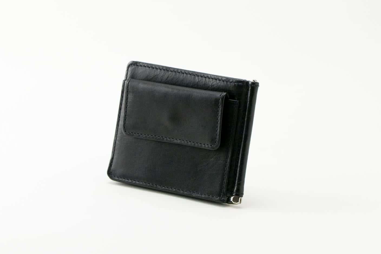 マネークリップ(小銭入れ付き)ブラック Business Leather Factory(ビジネスレザーファクトリー)