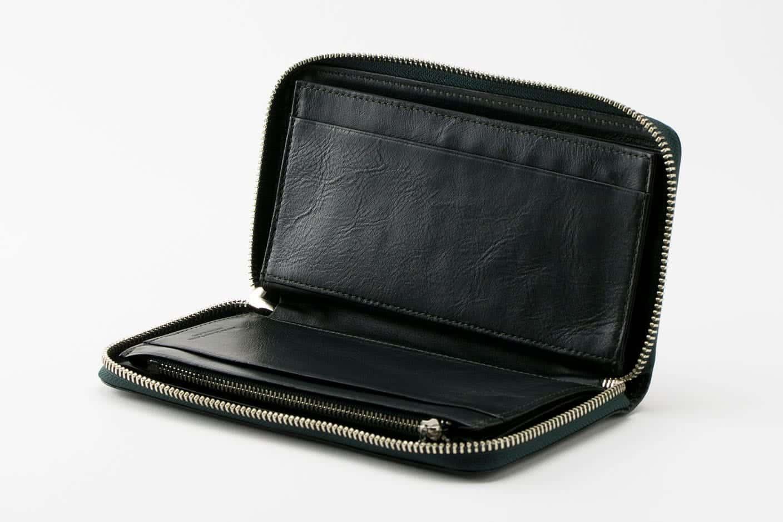 長財布(ラウンドファスナー) ブラックグリーン オープン Business Leather Factory(ビジネスレザーファクトリー)