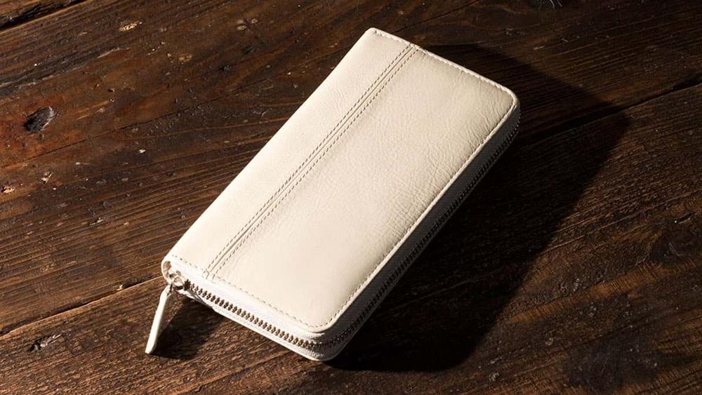 長財布(蛇腹ラウンドファスナー) ホワイトベージュ Business Leather Factory(ビジネスレザーファクトリー)