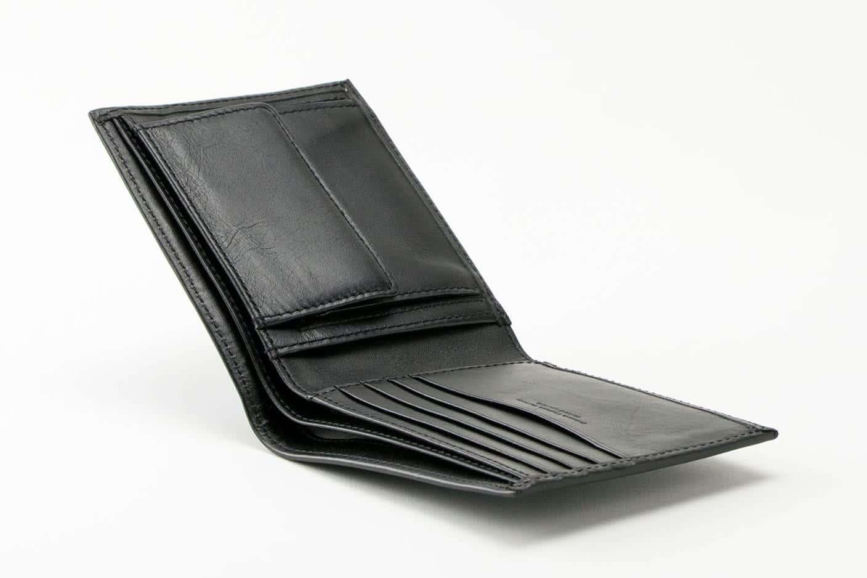 二つ折り財布(小銭入れあり) ブラック オープン Business Leather Factory(ビジネスレザーファクトリー)