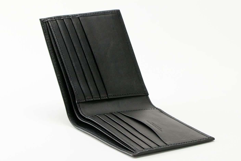 二う折り財布(小銭入れなし) ブラック オープン Business Leather Factory(ビジネスレザーファクトリー)