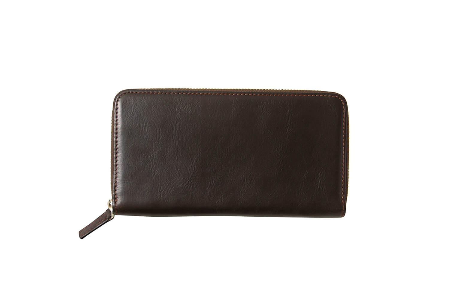 ダークブラウン Business Leather Factory(ビジネスレザーファクトリー) 長財布(ラウンドファスナー)