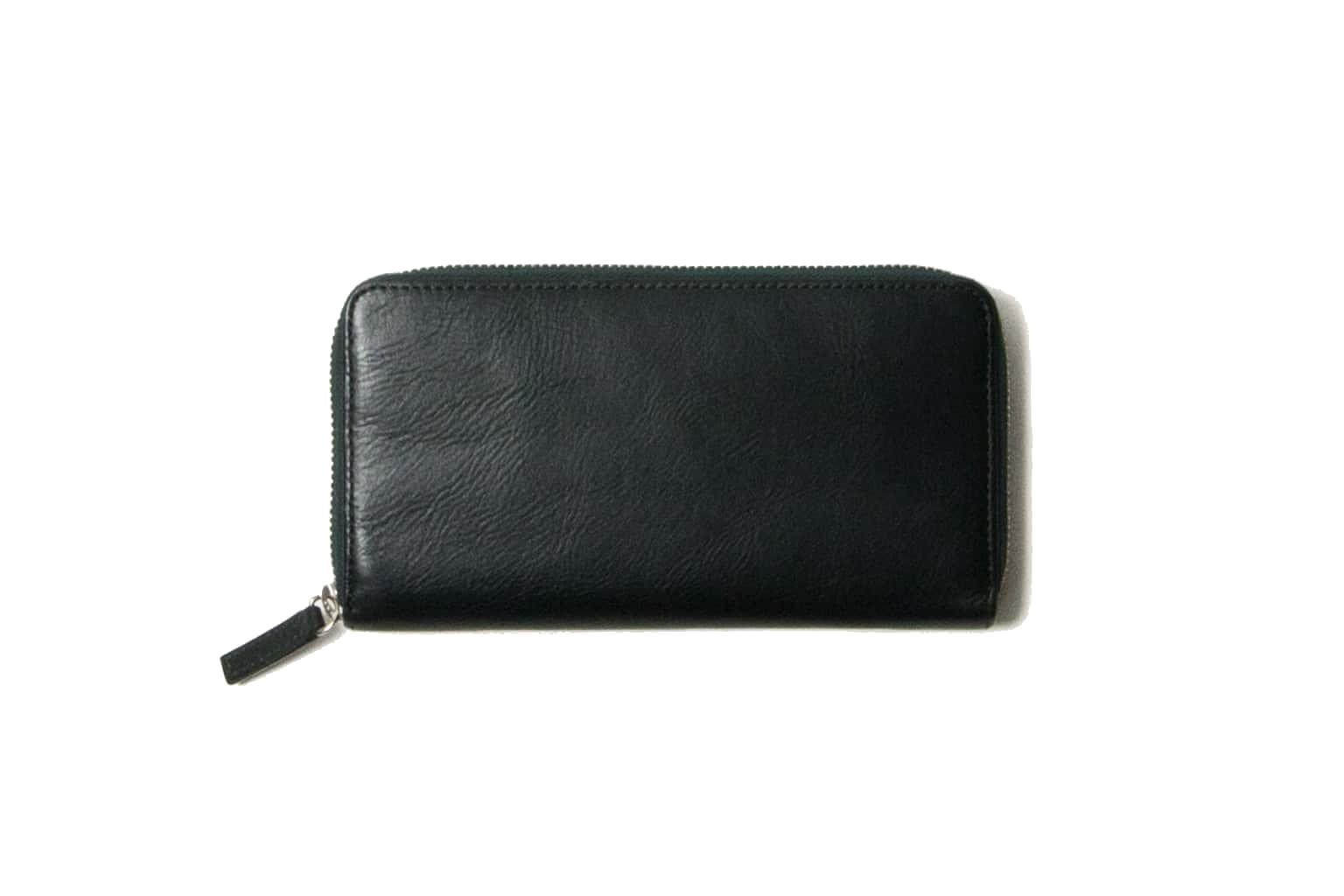 ブラックグリーン Business Leather Factory(ビジネスレザーファクトリー) 長財布(ラウンドファスナー)