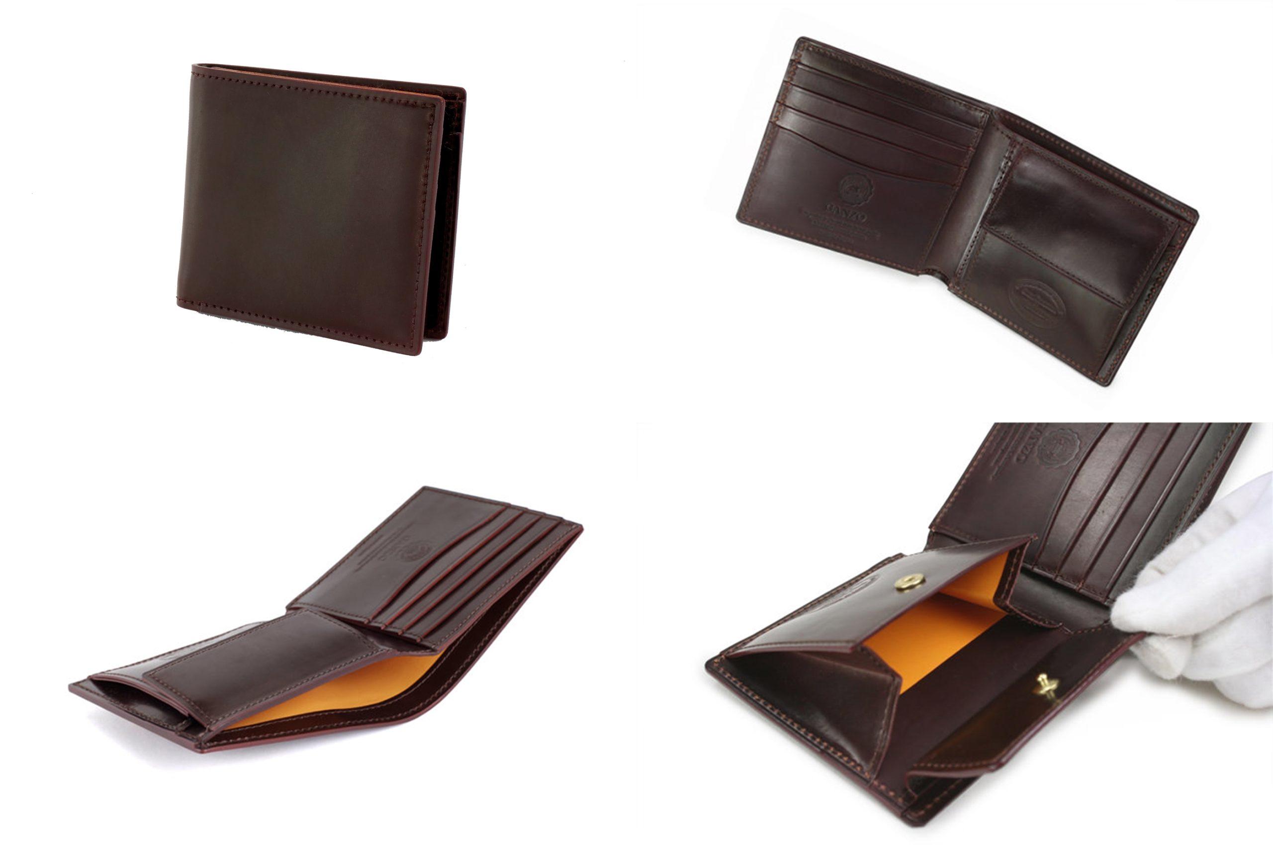 GANZO ガンゾ SHELL CORDOVAN 2 (シェルコードバン2)小銭入れ付き二つ折り財布 デザイン