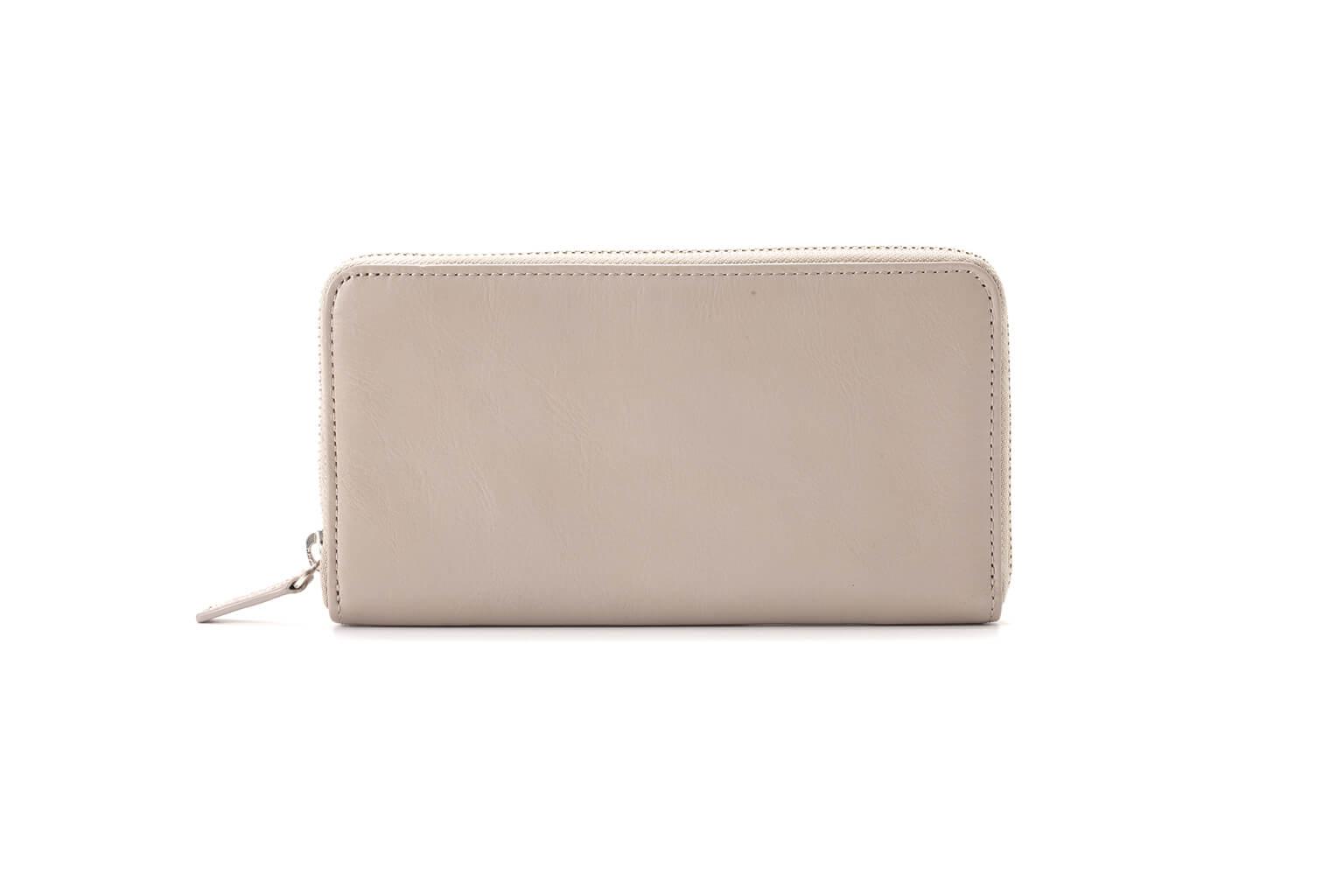 グレーベージュ Business Leather Factory(ビジネスレザーファクトリー) 長財布(ラウンドファスナー)
