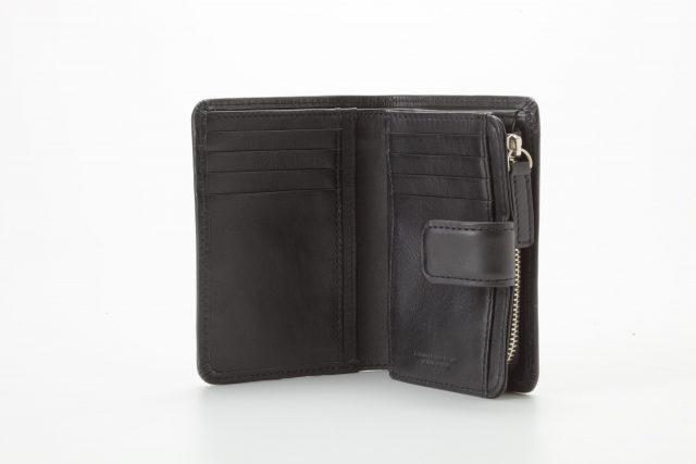 ミディアム二つ折り財布 ブラック オープン Business Leather Factory(ビジネスレザーファクトリー)