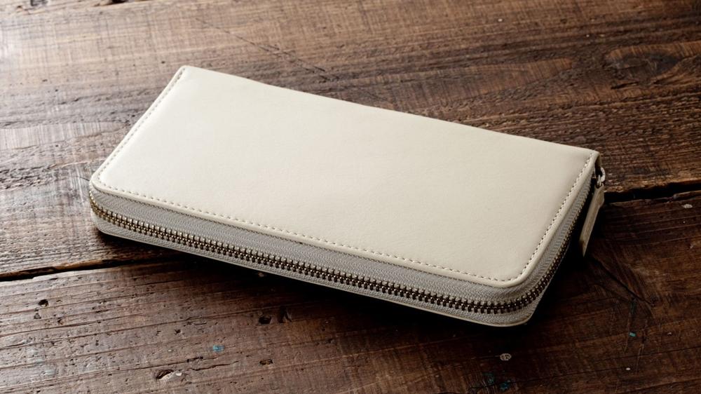 長財布(ラウンドファスナー) ホワイトベージュ Business Leather Factory(ビジネスレザーファクトリー)