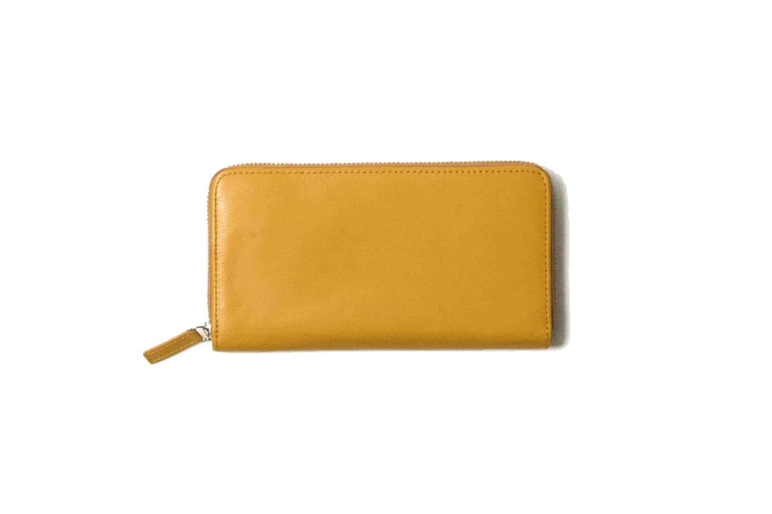 マスタードイエロー Business Leather Factory(ビジネスレザーファクトリー) 長財布(ラウンドファスナー)