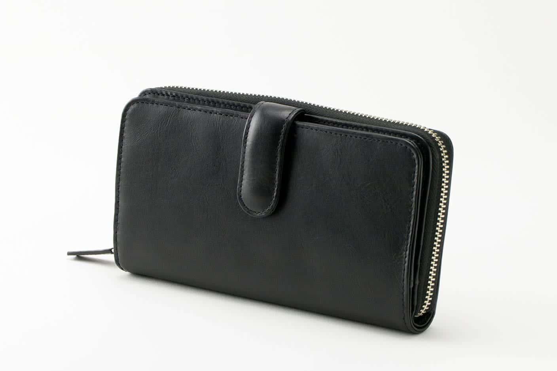 ダブル長財布 ブラック Business Leather Factory(ビジネスレザーファクトリー)