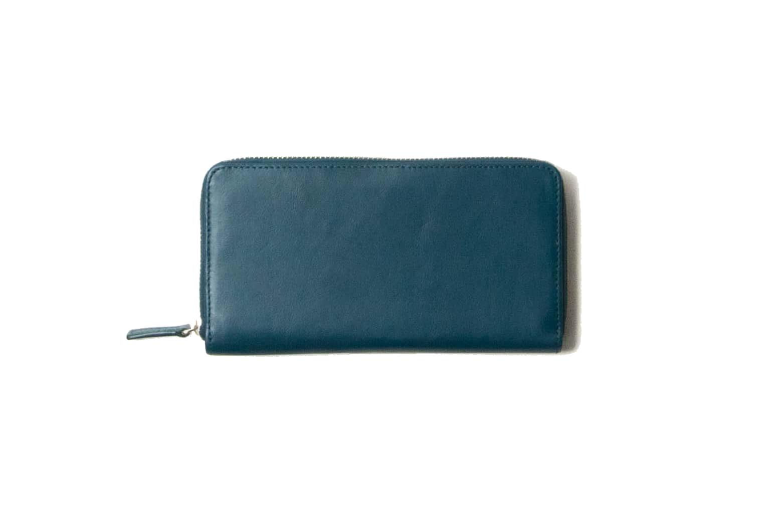 ピーコックブルー Business Leather Factory(ビジネスレザーファクトリー) 長財布(ラウンドファスナー)