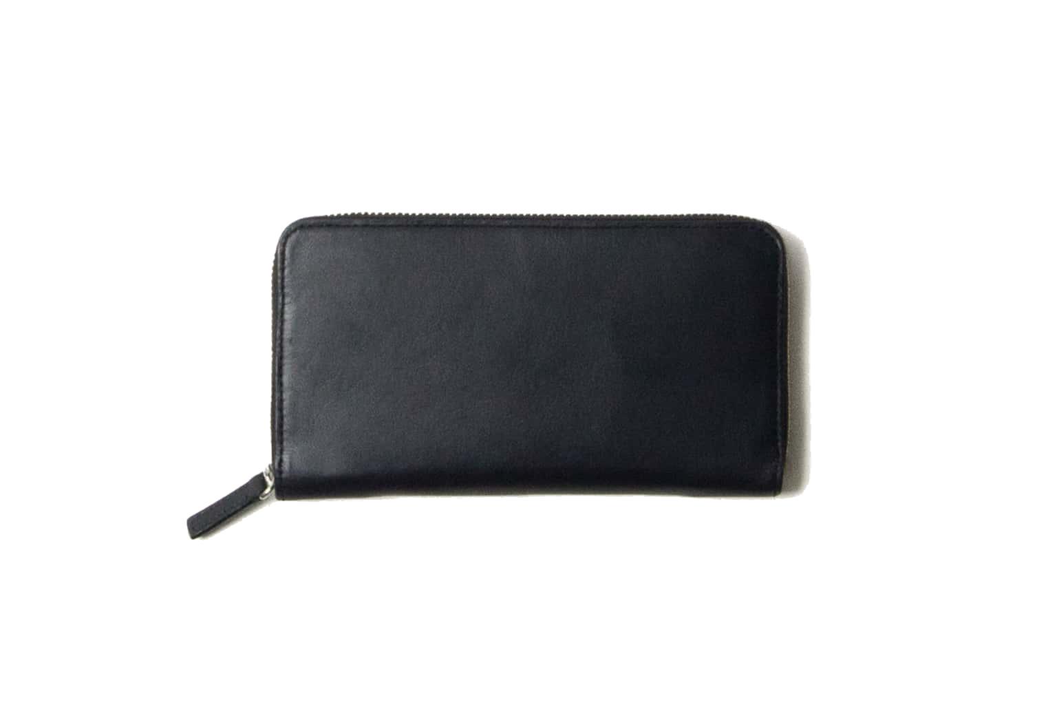 ブラックネイビー Business Leather Factory(ビジネスレザーファクトリー) 長財布(ラウンドファスナー)