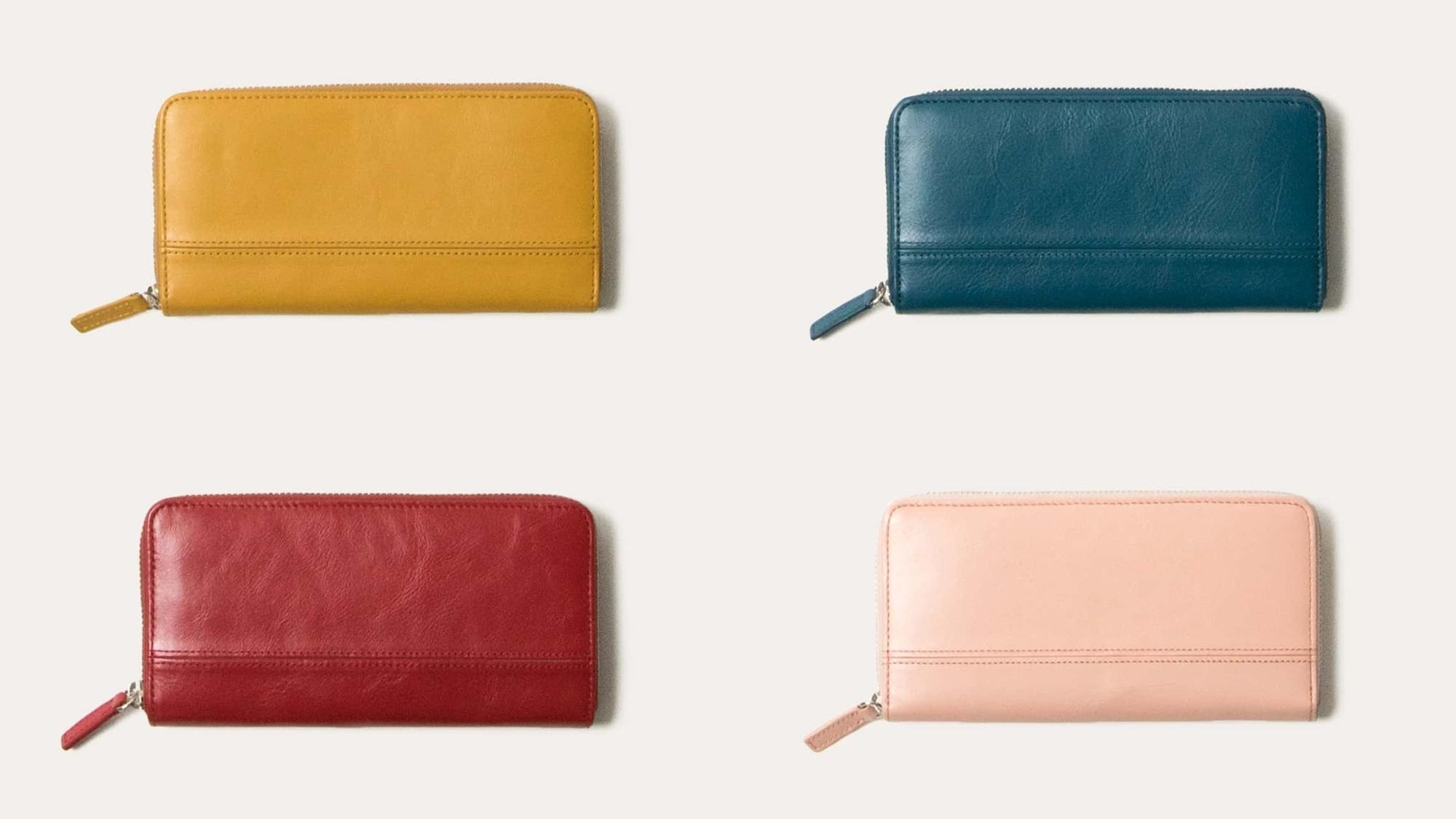 ラウンドファスナー長財布(蛇腹)レディースカラー Business Leather Factory(ビジネスレザーファクトリー).jp