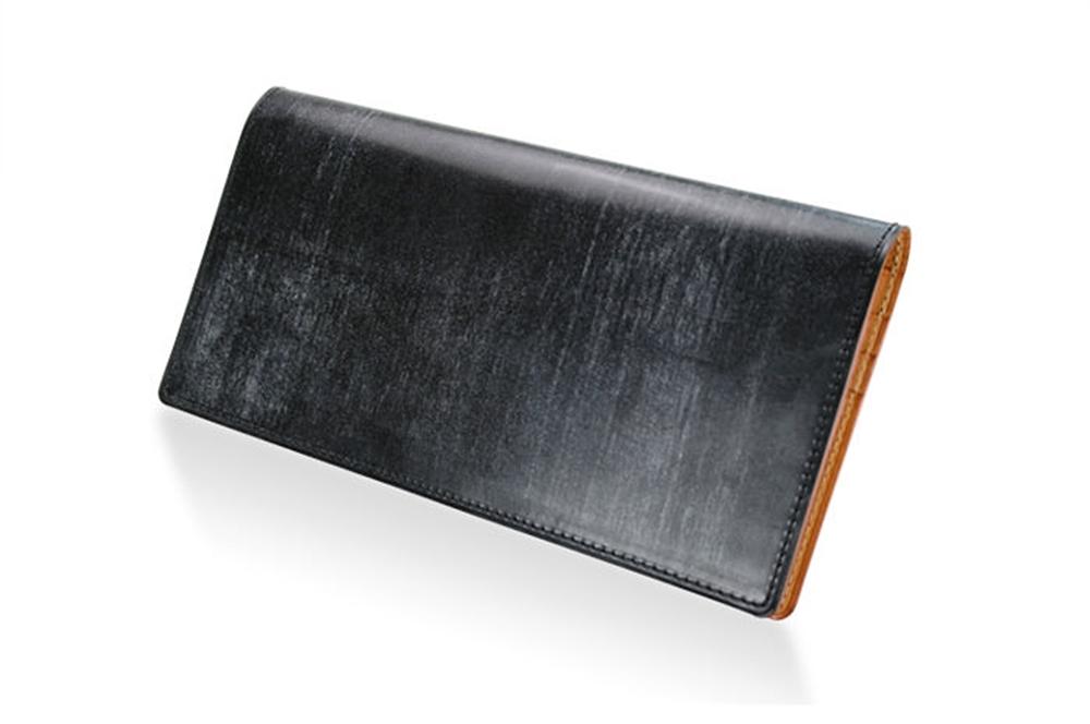 GANZO(ガンゾ)THIN BRIDLE (シンブライドル) マチ無し長財布 ブラック
