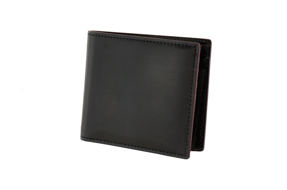 GANZO(ガンゾ)SHELL CORDOVAN 2 (シェルコードバン2)小銭入れ付き二つ折り財布 ブラック