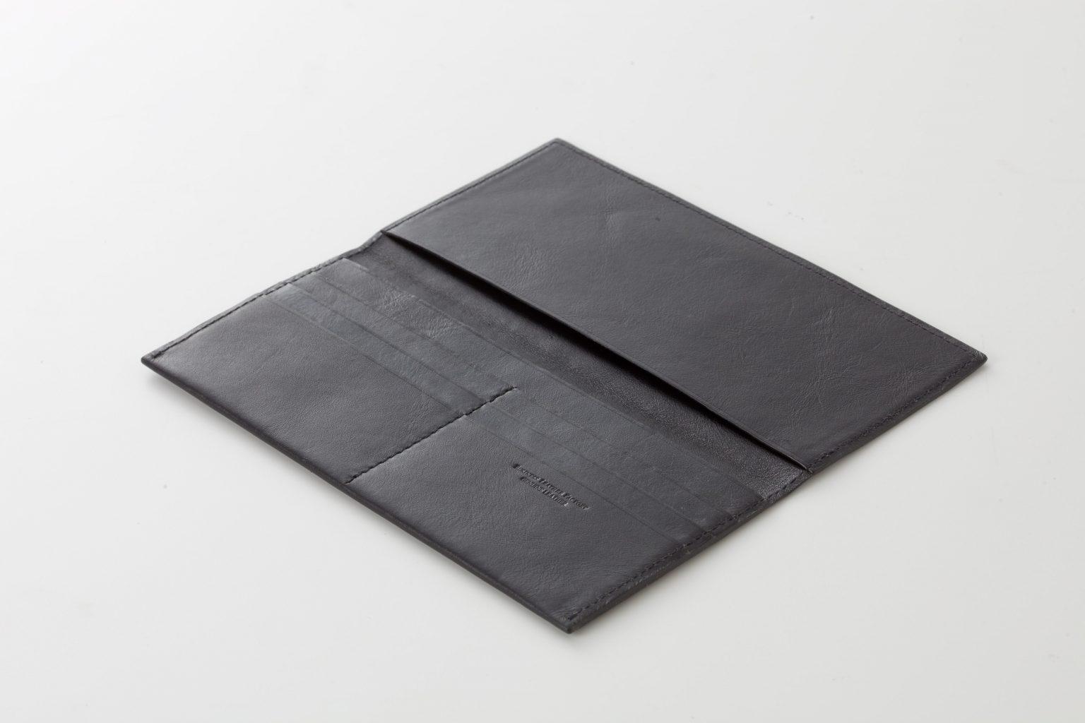 スリム長財布 ブラック オープン Business Leather Factory(ビジネスレザーファクトリー)