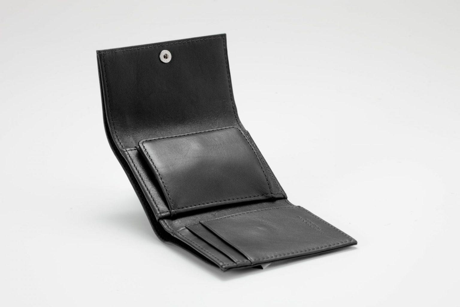 三つ折り財布 ブラック オープン Business Leather Factory(ビジネスレザーファクトリー)