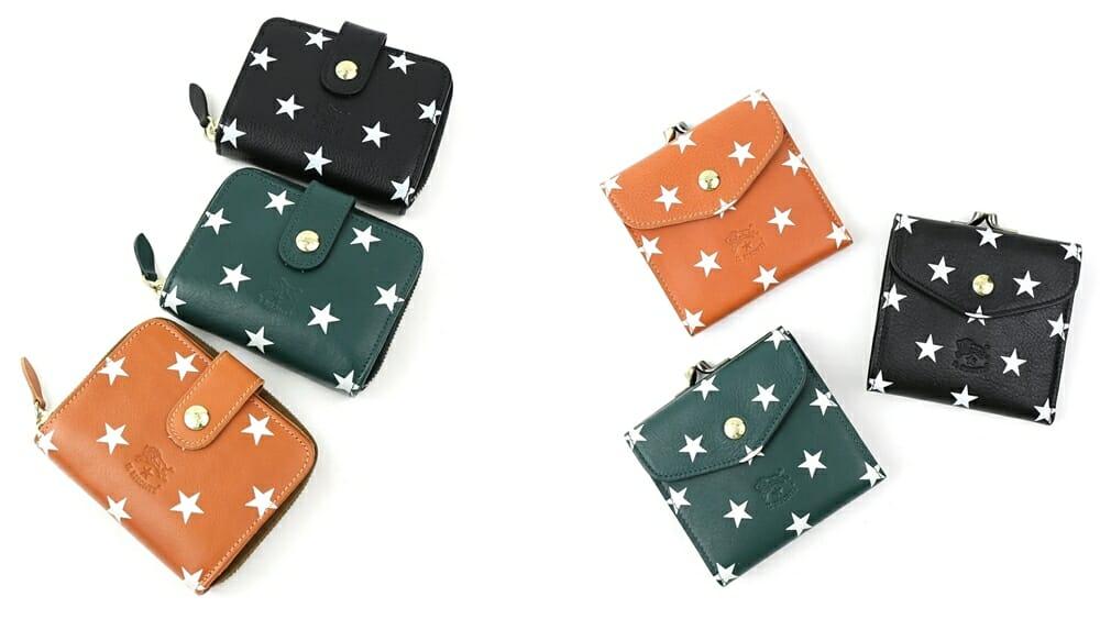 日本限定ドットスタースクエアがま口財布 ラウンドファスナー 二つ折り財布 ウォレット IL BISONTE(イルビゾンテ)