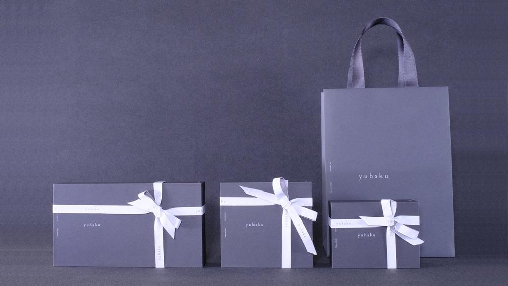 yuhaku ユハク プレゼント ギフトラッピング 手提げ紙袋 リボン