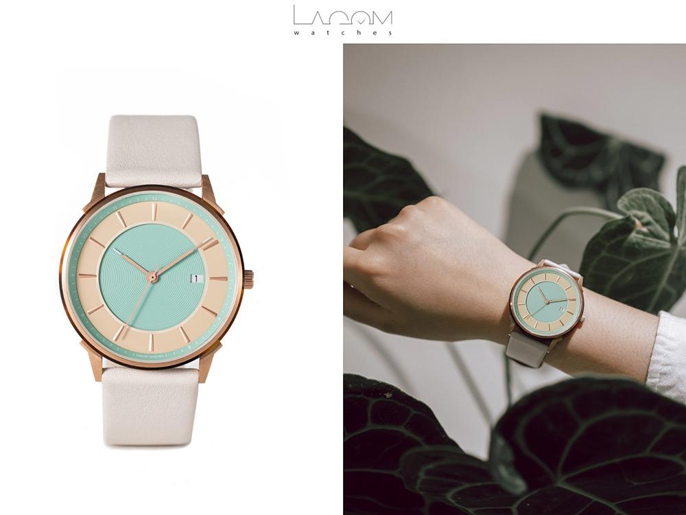Lagom Watches ラーゴムウォッチ BORJA(LIMITED EDITION)2020年夏至限定版 LW070 ローズゴールドベージュ_ターコイズ.リニオ